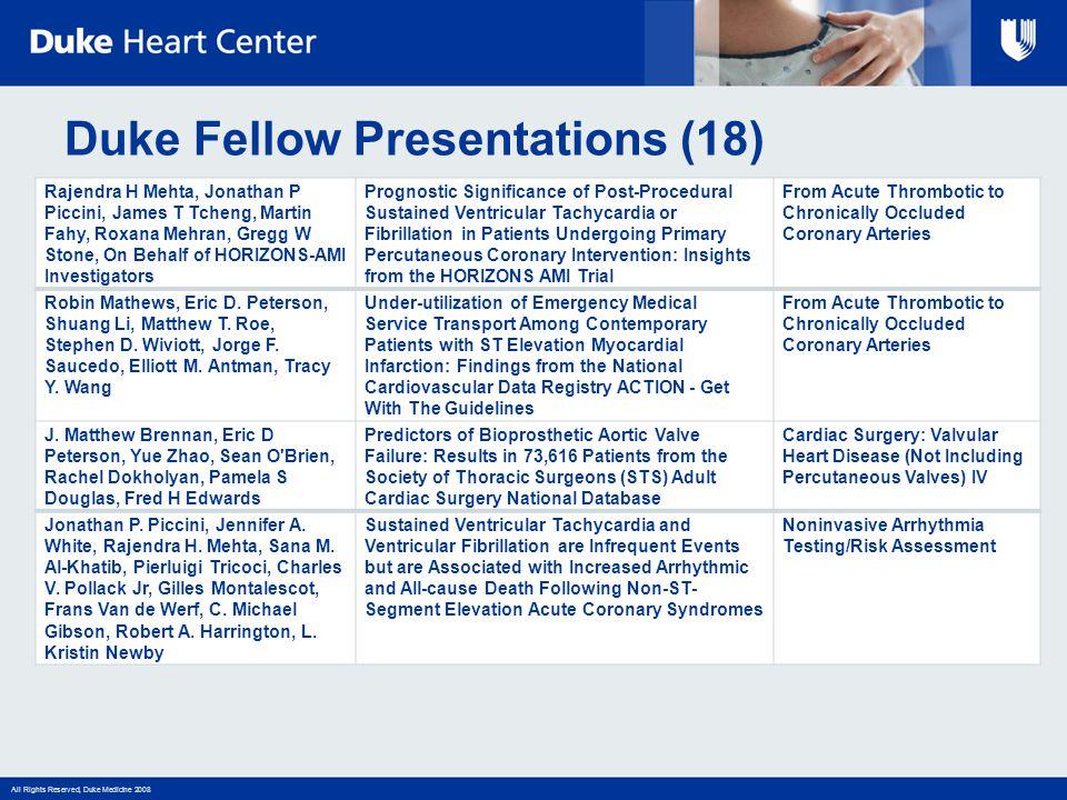 All Rights Reserved, Duke Medicine 2008 Duke Fellow Presentations (18) Rajendra H Mehta, Jonathan P Piccini, James T Tcheng, Martin Fahy, Roxana Mehra