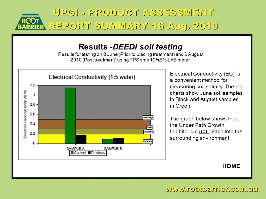 c www.rootbarrier.com.au www.rootbarrier.com.au HOME UPGI - PRODUCT ASSESSMENT REPORT SUMMARY 16 Aug. 2010 Results -DEEDI soil testing Results for tes