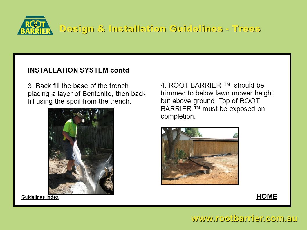 c www.rootbarrier.com.au www.rootbarrier.com.au Design & Installation Guidelines - Trees INSTALLATION SYSTEM contd 3. Back fill the base of the trench