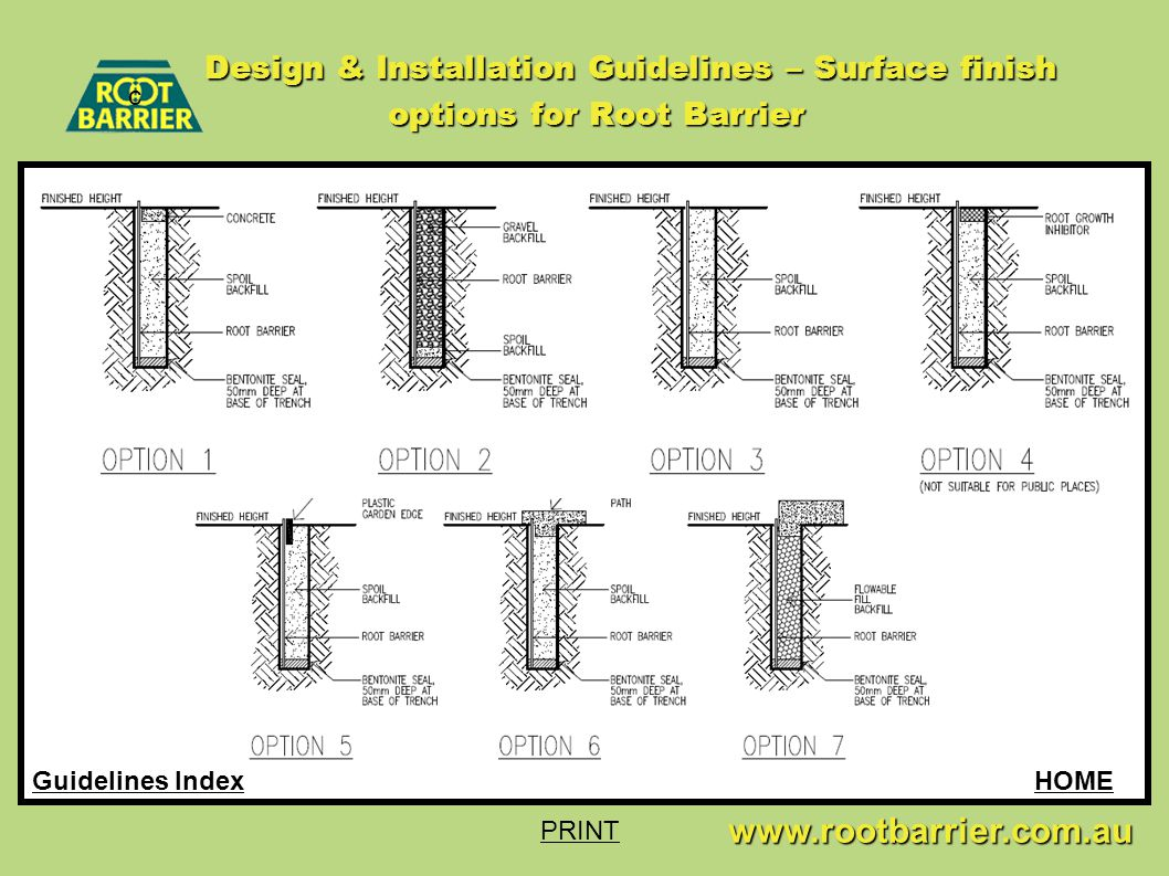 c www.rootbarrier.com.au www.rootbarrier.com.au HOMEGuidelines Index Design & Installation Guidelines – Surface finish options for Root Barrier PRINT