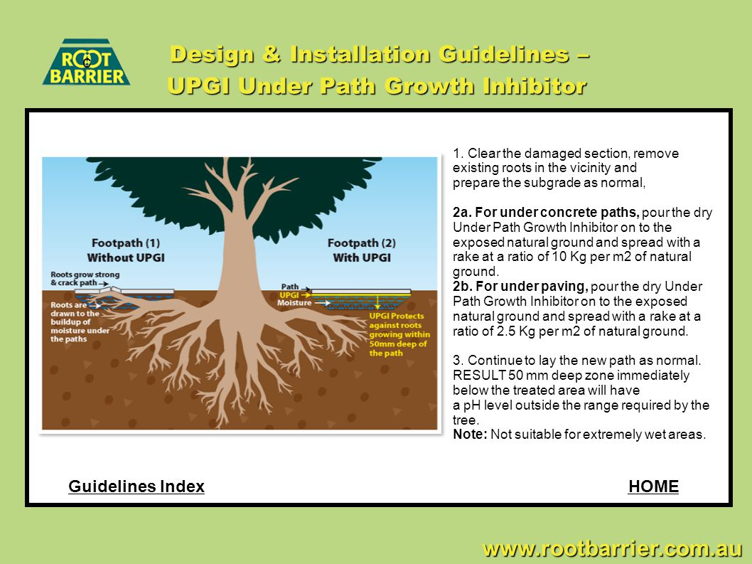 c www.rootbarrier.com.au www.rootbarrier.com.au Design & Installation Guidelines – UPGI Under Path Growth Inhibitor HOMEGuidelines Index 1. Clear the
