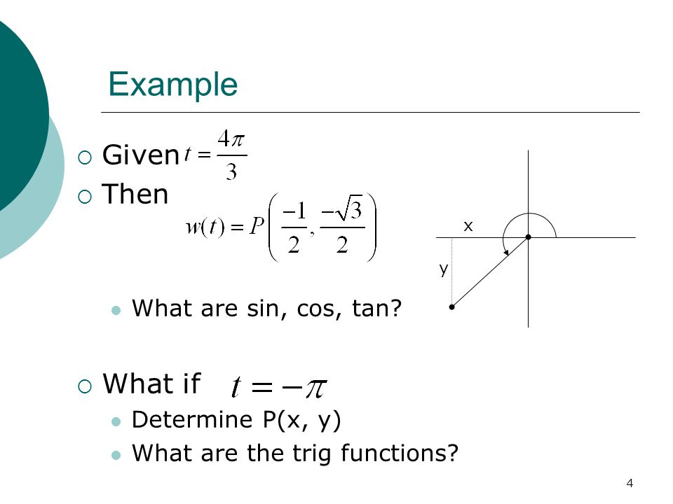4 Example  Given  Then What are sin, cos, tan.