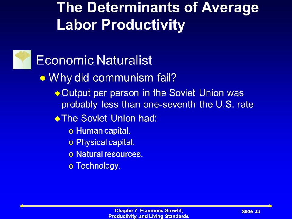 Chapter 7: Economic Growht, Productivity, and Living Standards Slide 33 The Determinants of Average Labor Productivity Economic Naturalist Why did communism fail.