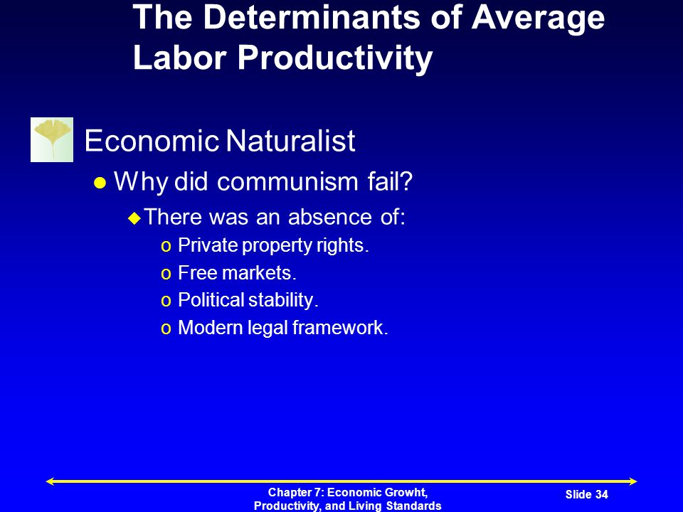Chapter 7: Economic Growht, Productivity, and Living Standards Slide 34 The Determinants of Average Labor Productivity Economic Naturalist Why did communism fail.