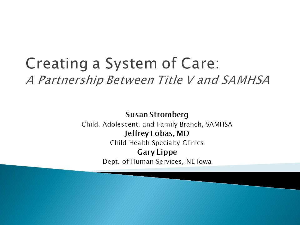 Susan Stromberg Child, Adolescent, and Family Branch, SAMHSA Jeffrey Lobas, MD Child Health Specialty Clinics Gary Lippe Dept. of Human Services, NE I
