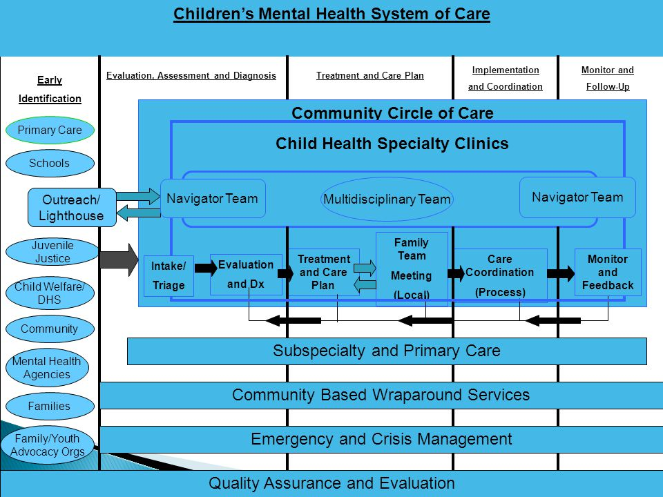 Early Identification Children's Mental Health System of Care Primary Care Schools Mental Health Agencies Juvenile Justice Child Welfare/ DHS Community