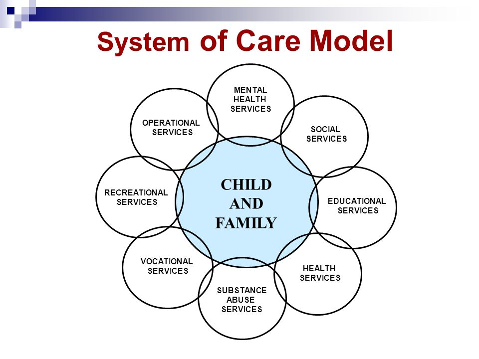 System of Care Model CHILD AND FAMILY MENTAL HEALTH SERVICES EDUCATIONAL SERVICES HEALTH SERVICES SUBSTANCE ABUSE SERVICES VOCATIONAL SERVICES RECREAT