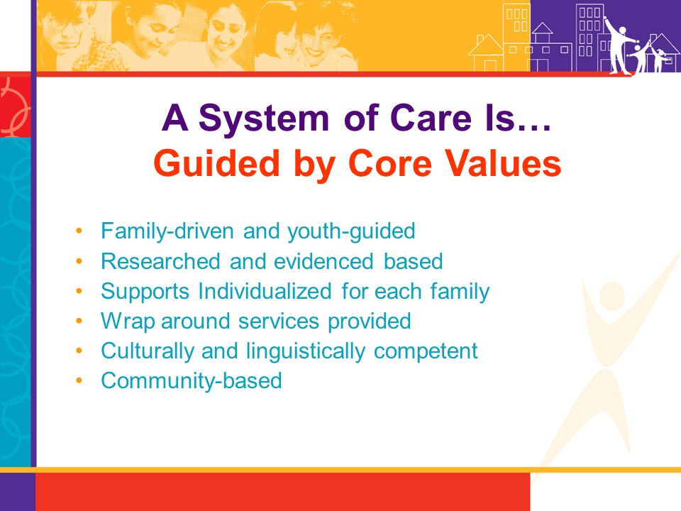 Family-driven and youth-guided Researched and evidenced based Supports Individualized for each family Wrap around services provided Culturally and lin