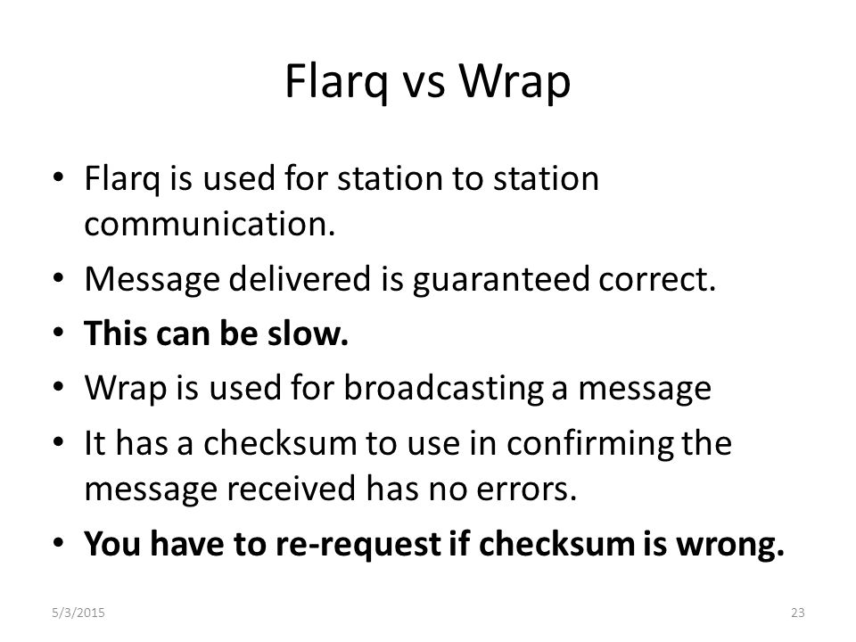 Fldigi and Wrap Wrap allows recipient to verify transmission was received correctly.