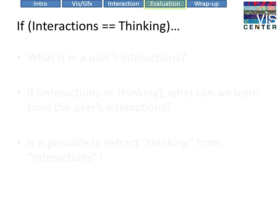 EvaluationIntroVis/GfxInteractionWrap-up If (Interactions == Thinking)… What is in a user's interactions.