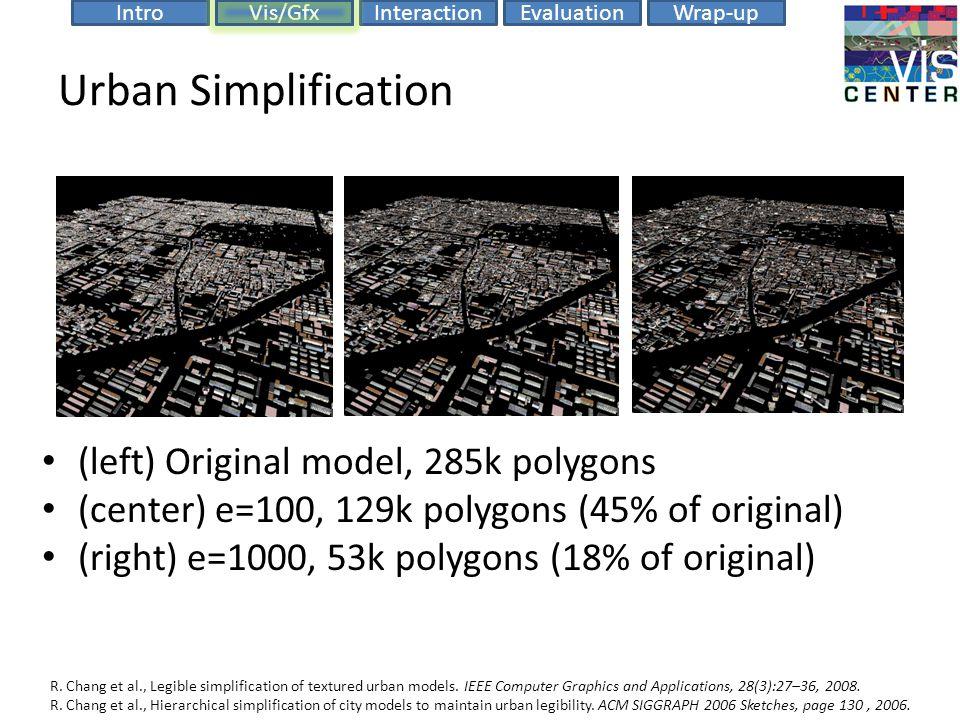 EvaluationIntroVis/GfxInteractionWrap-up Urban Simplification (left) Original model, 285k polygons (center) e=100, 129k polygons (45% of original) (right) e=1000, 53k polygons (18% of original) R.