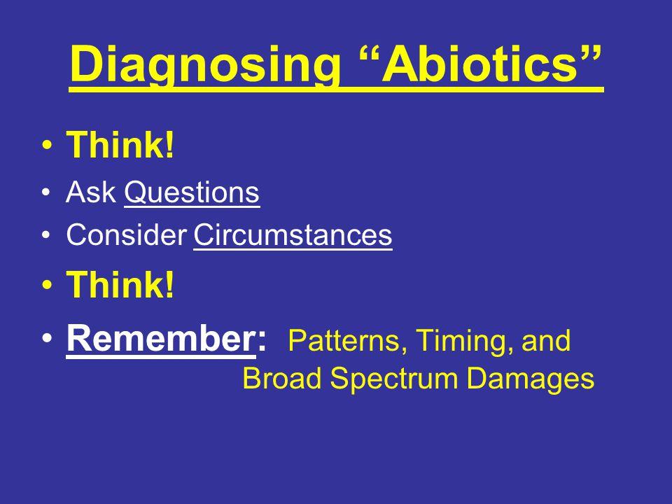 Diagnosing Abiotics Think. Ask Questions Consider Circumstances Think.