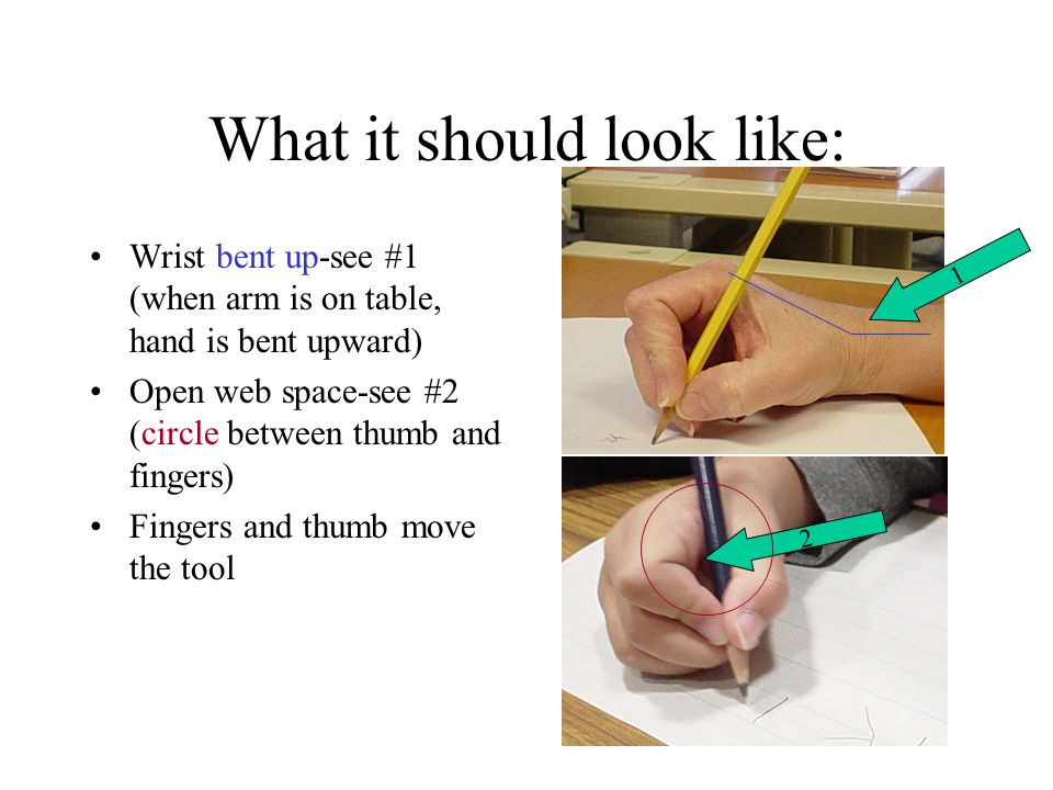What it should look like: Wrist bent up-see #1 (when arm is on table, hand is bent upward) Open web space-see #2 (circle between thumb and fingers) Fingers and thumb move the tool 2 1