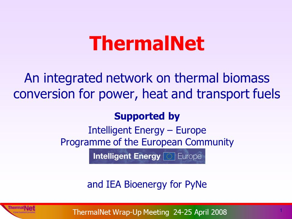 ThermalNet EIE 2003-159 ThermalNet Wrap-Up Meeting 24-25 April 2008 1 ThermalNet An integrated network on thermal biomass conversion for power, heat and transport fuels Supported by Intelligent Energy – Europe Programme of the European Community and IEA Bioenergy for PyNe