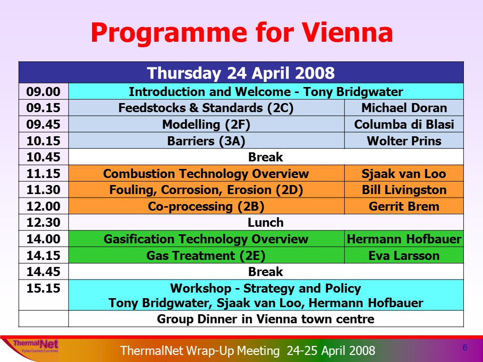 ThermalNet EIE 2003-159 ThermalNet Wrap-Up Meeting 24-25 April 2008 6 Programme for Vienna Thursday 24 April 2008 09.00Introduction and Welcome - Tony Bridgwater 09.15Feedstocks & Standards (2C)Michael Doran 09.45Modelling (2F)Columba di Blasi 10.15Barriers (3A)Wolter Prins 10.45Break 11.15Combustion Technology OverviewSjaak van Loo 11.30Fouling, Corrosion, Erosion (2D)Bill Livingston 12.00Co-processing (2B)Gerrit Brem 12.30Lunch 14.00Gasification Technology OverviewHermann Hofbauer 14.15Gas Treatment (2E)Eva Larsson 14.45Break 15.15Workshop - Strategy and Policy Tony Bridgwater, Sjaak van Loo, Hermann Hofbauer Group Dinner in Vienna town centre