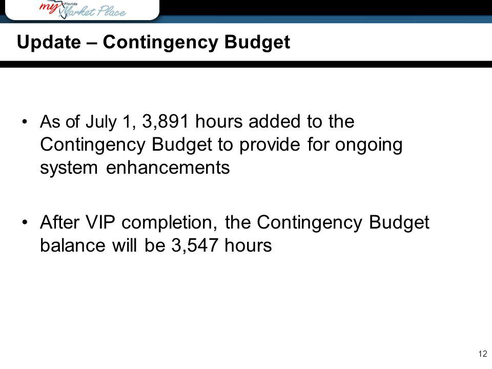 As of July 1, 3,891 hours added to the Contingency Budget to provide for ongoing system enhancements After VIP completion, the Contingency Budget balance will be 3,547 hours 12 Update – Contingency Budget