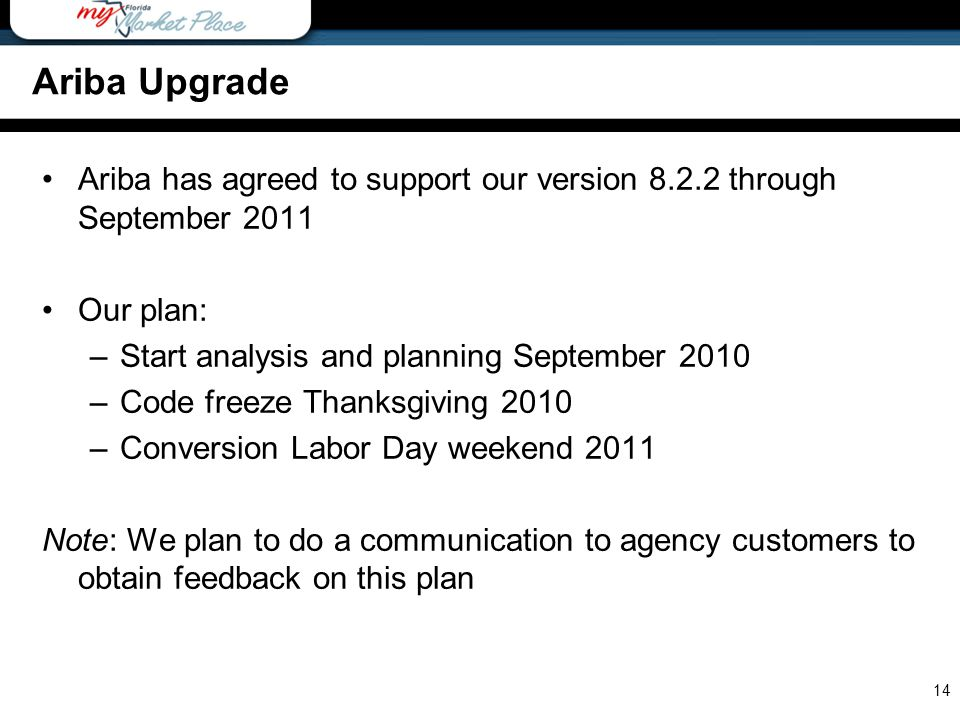 Ariba has agreed to support our version 8.2.2 through September 2011 Our plan: –Start analysis and planning September 2010 –Code freeze Thanksgiving 2010 –Conversion Labor Day weekend 2011 Note: We plan to do a communication to agency customers to obtain feedback on this plan 14 Ariba Upgrade
