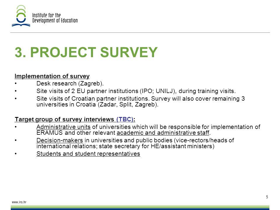 5 3.PROJECT SURVEY Implementation of survey Desk research (Zagreb).