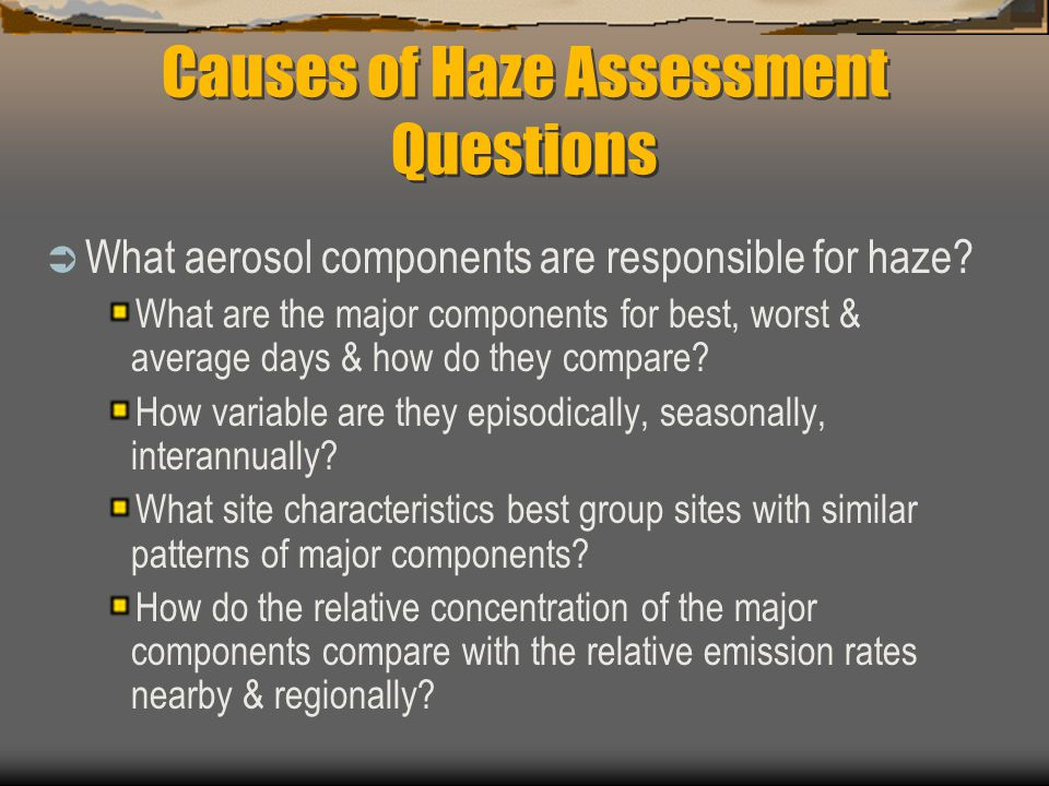 Causes of Haze Assessment Questions  What aerosol components are responsible for haze.