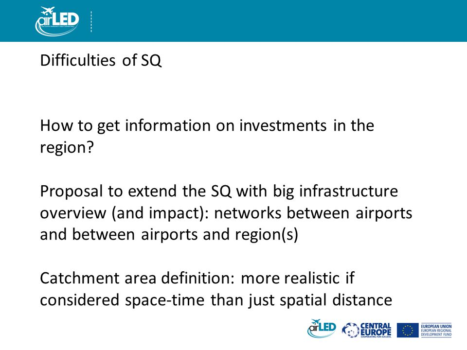 Difficulties of SQ How to get information on investments in the region.