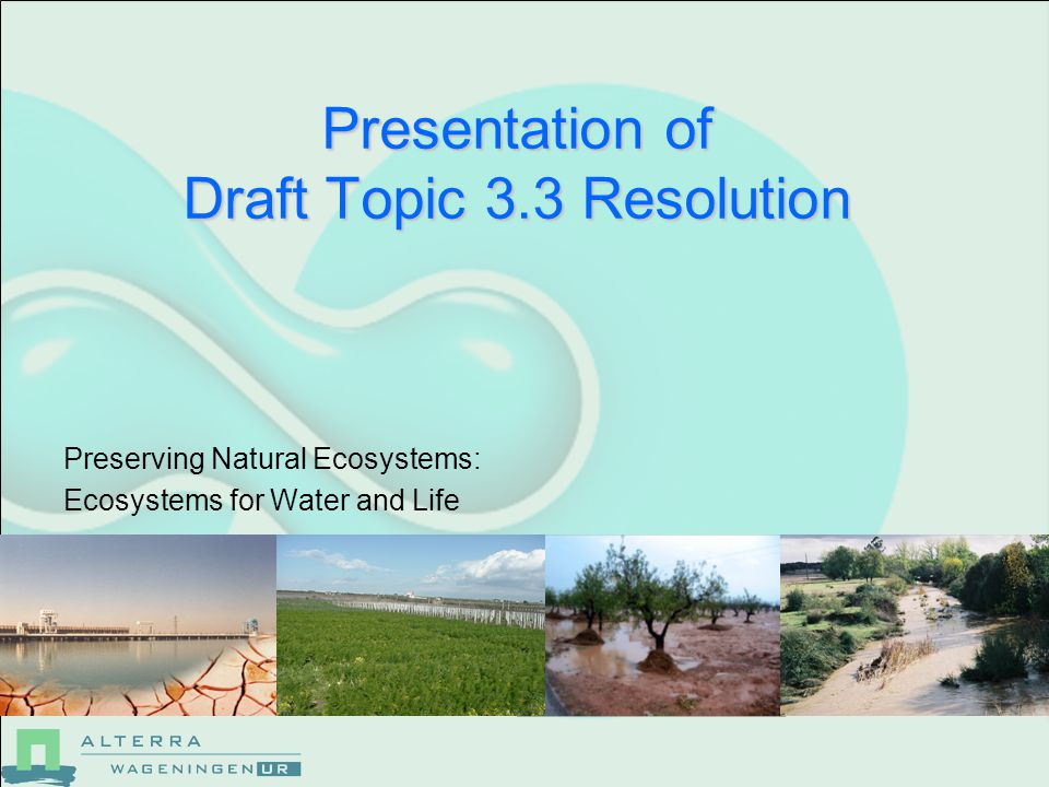 Presentation of Draft Topic 3.3 Resolution Preserving Natural Ecosystems: Ecosystems for Water and Life