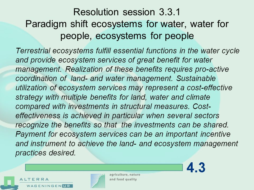 Resolution session 3.3.2 Spreading the wealth: How to share the benefits of nature.