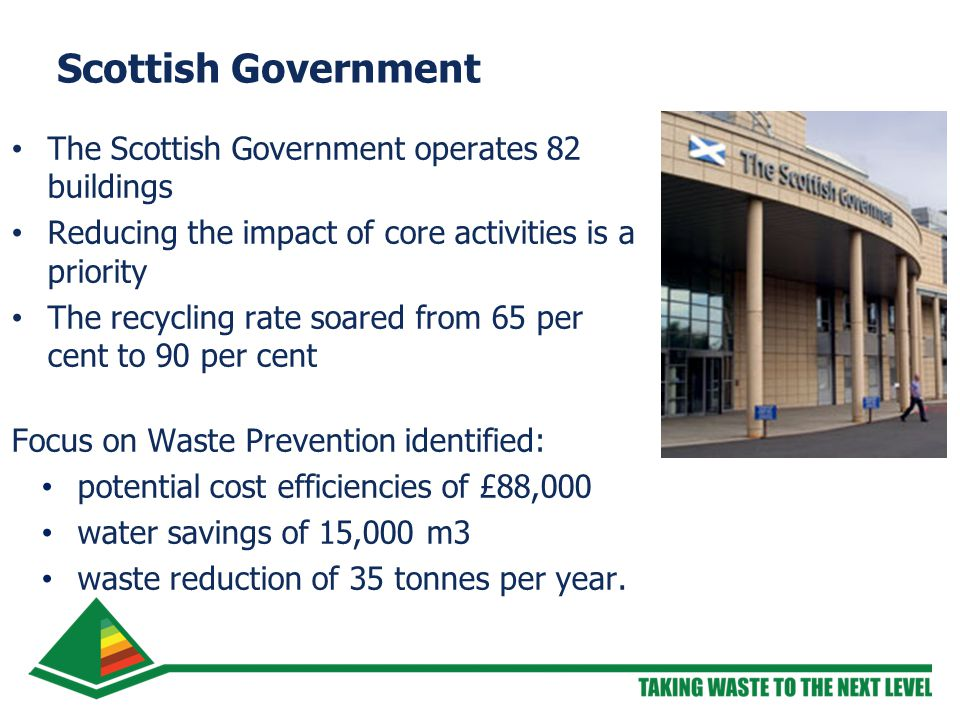 Scottish Government The Scottish Government operates 82 buildings Reducing the impact of core activities is a priority The recycling rate soared from 65 per cent to 90 per cent Focus on Waste Prevention identified: potential cost efficiencies of £88,000 water savings of 15,000 m3 waste reduction of 35 tonnes per year.