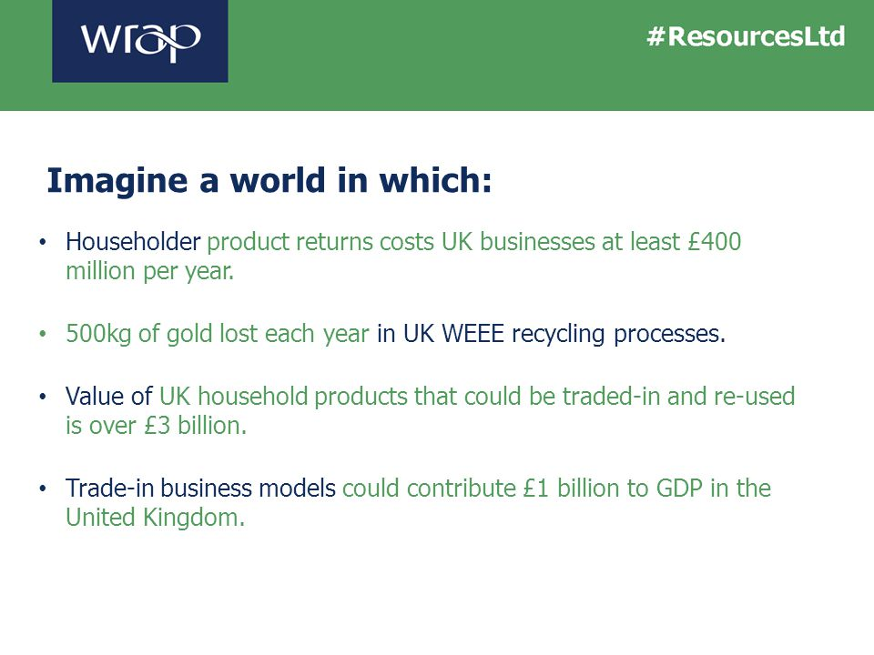 Imagine a world in which: Householder product returns costs UK businesses at least £400 million per year. 500kg of gold lost each year in UK WEEE recy