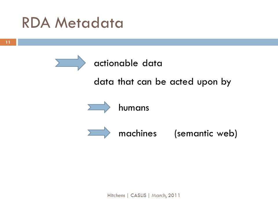 RDA Metadata actionable data data that can be acted upon by humans machines(semantic web) 11 Hitchens | CASLIS | March, 2011