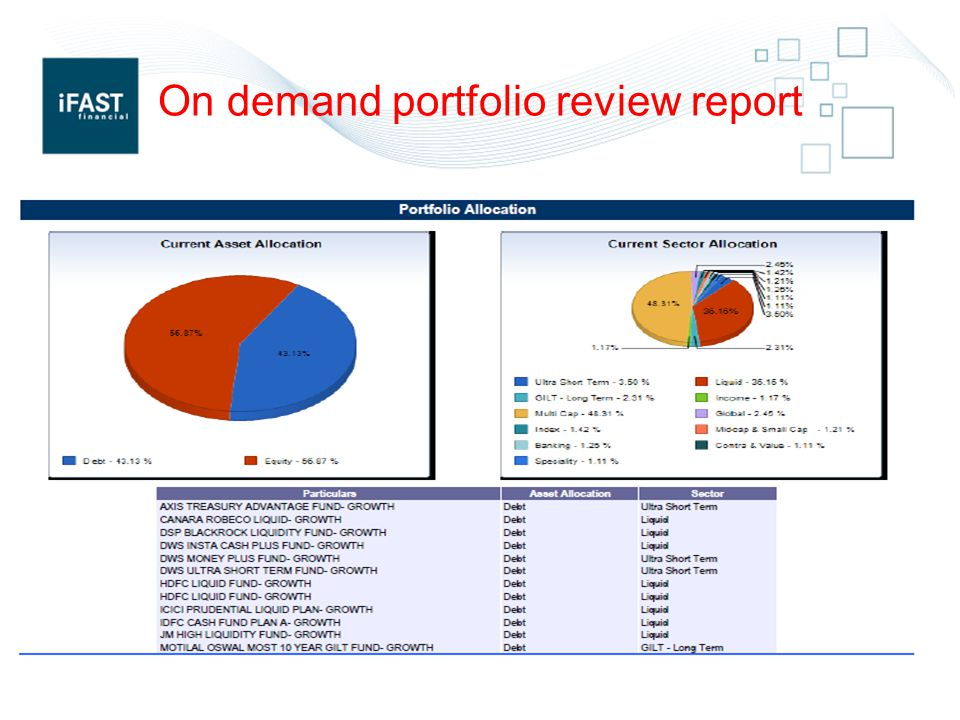 On demand portfolio review report