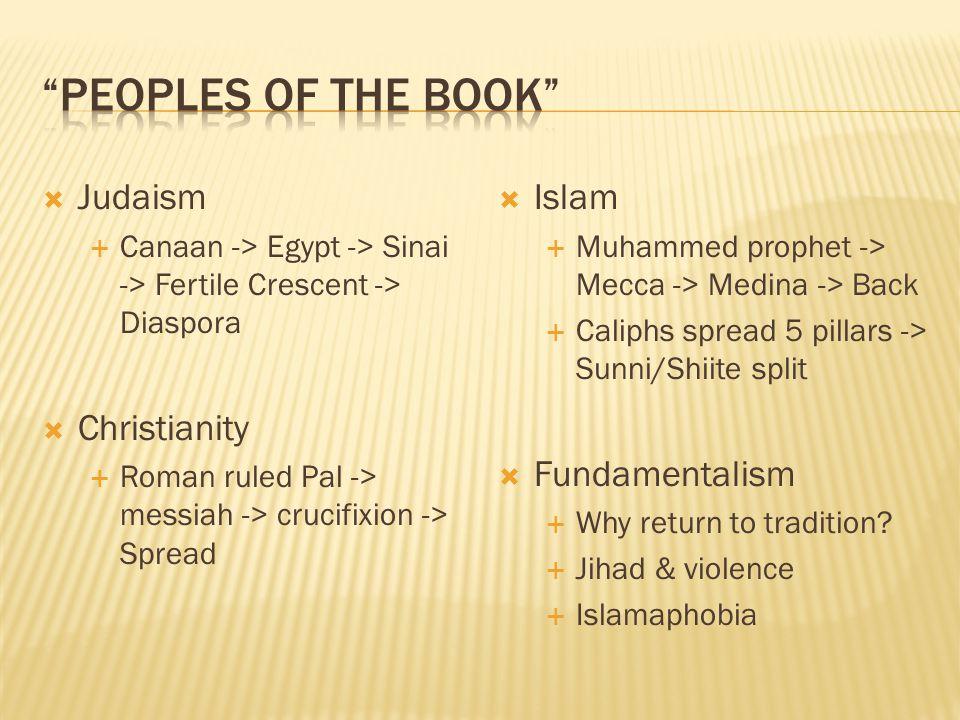  Judaism  Canaan -> Egypt -> Sinai -> Fertile Crescent -> Diaspora  Christianity  Roman ruled Pal -> messiah -> crucifixion -> Spread  Islam  Muhammed prophet -> Mecca -> Medina -> Back  Caliphs spread 5 pillars -> Sunni/Shiite split  Fundamentalism  Why return to tradition.