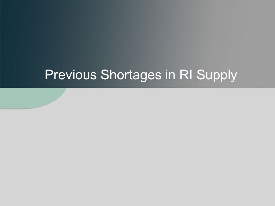Previous Shortages in RI Supply