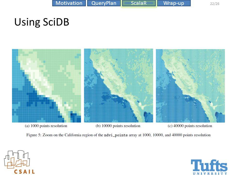 ScalaRMotivationQueryPlanWrap-up 22/26 Using SciDB