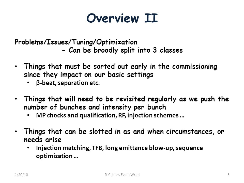 Overview II 1/20/10P. Collier, Evian Wrap3 Problems/Issues/Tuning/Optimization - Can be broadly split into 3 classes Things that must be sorted out ea