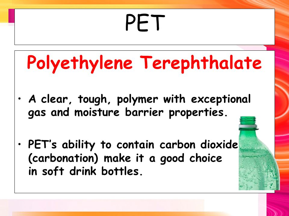 HDPE High Density Polyethylene Used in milk, juice and water containers in order to take advantage of its protective barrier properties Its chemical resistance properties make it a good choice as container for household chemicals and detergents.