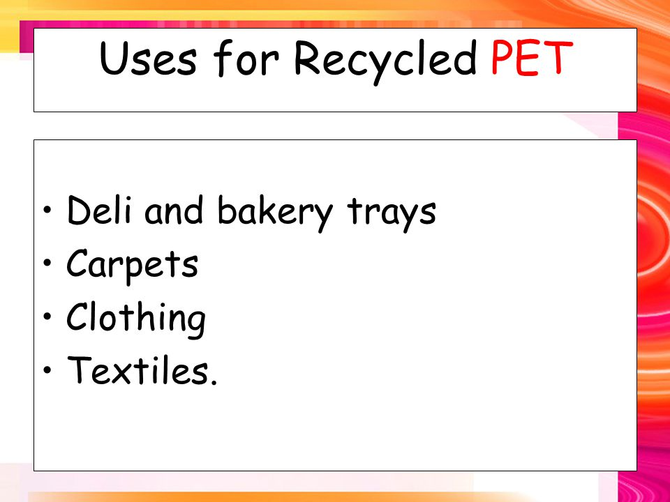 Uses for Recycled HDPE Bottles for laundry detergent Agricultural pipes Recycling bins Motor oil bottles