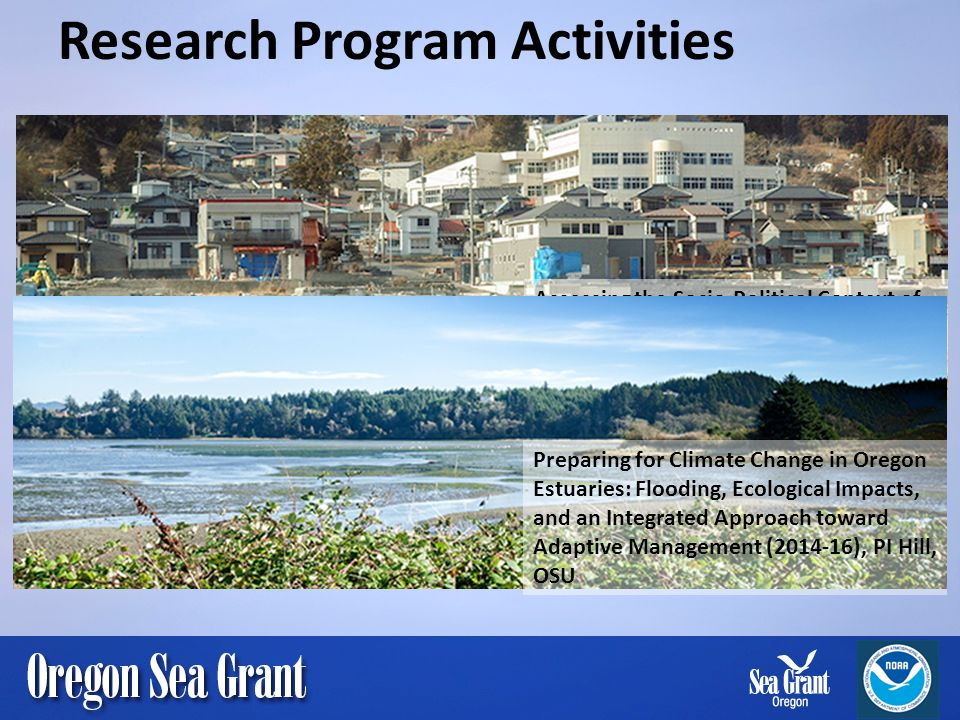 Research Program Activities Assessing the Socio-Political Context of Disaster Recovery in Coastal Oregon (2012-15), PI Cramer, OSU Preparing for Climate Change in Oregon Estuaries: Flooding, Ecological Impacts, and an Integrated Approach toward Adaptive Management (2014-16), PI Hill, OSU