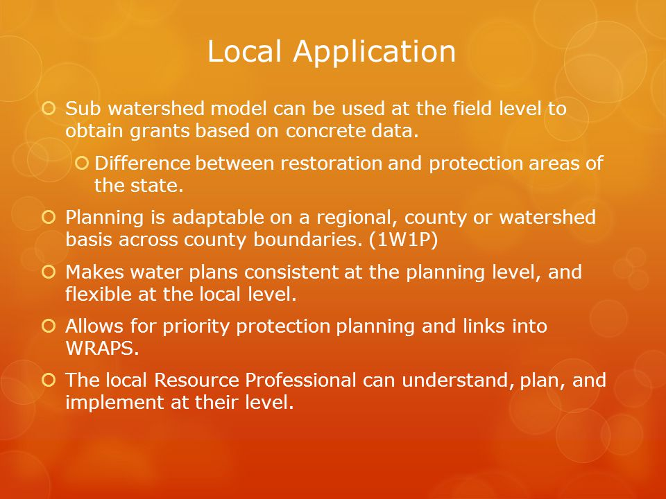 18% of MN is scheduled to utilize the sub watershed model for targeting and prioritizing watersheds.