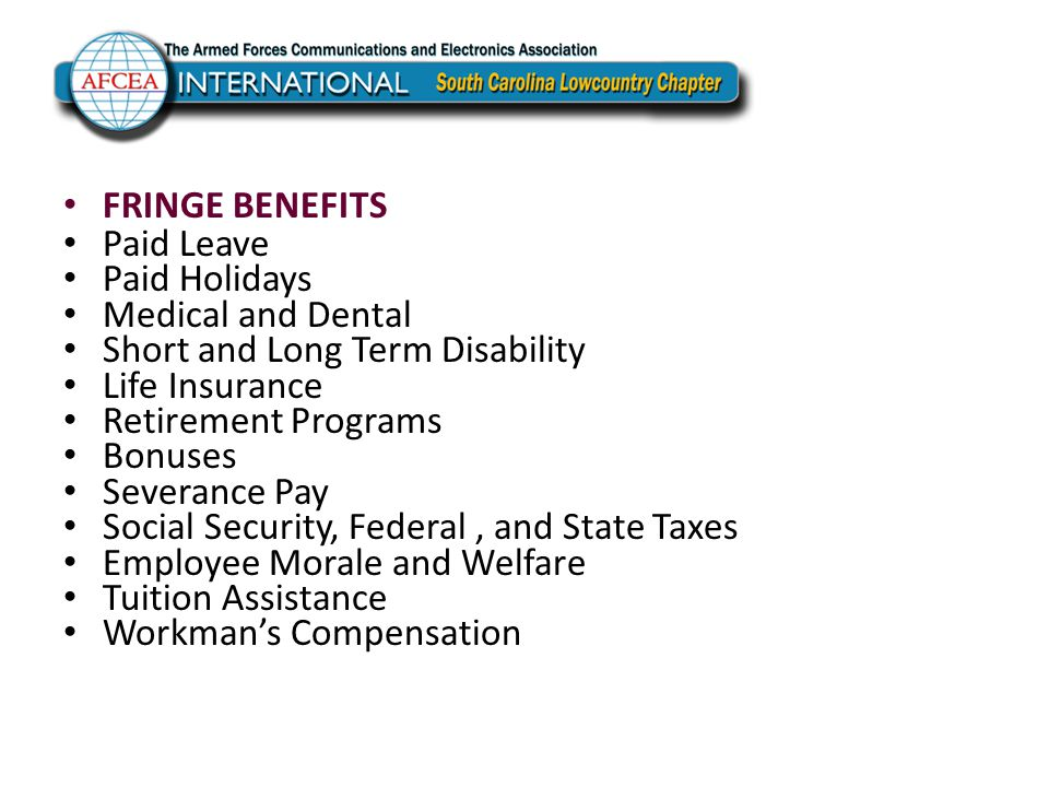 FRINGE BENEFITS Paid Leave Paid Holidays Medical and Dental Short and Long Term Disability Life Insurance Retirement Programs Bonuses Severance Pay So