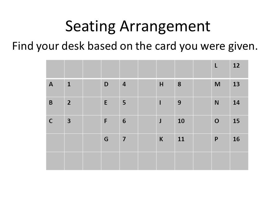 Seating Arrangement Find your desk based on the card you were given. L12 A1D4H8M13 B2E5I9N14 C3F6J10O15 G7K11P16