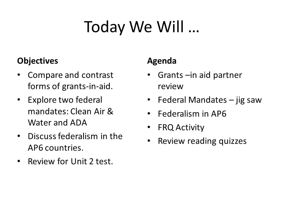 Today We Will … Objectives Compare and contrast forms of grants-in-aid. Explore two federal mandates: Clean Air & Water and ADA Discuss federalism in