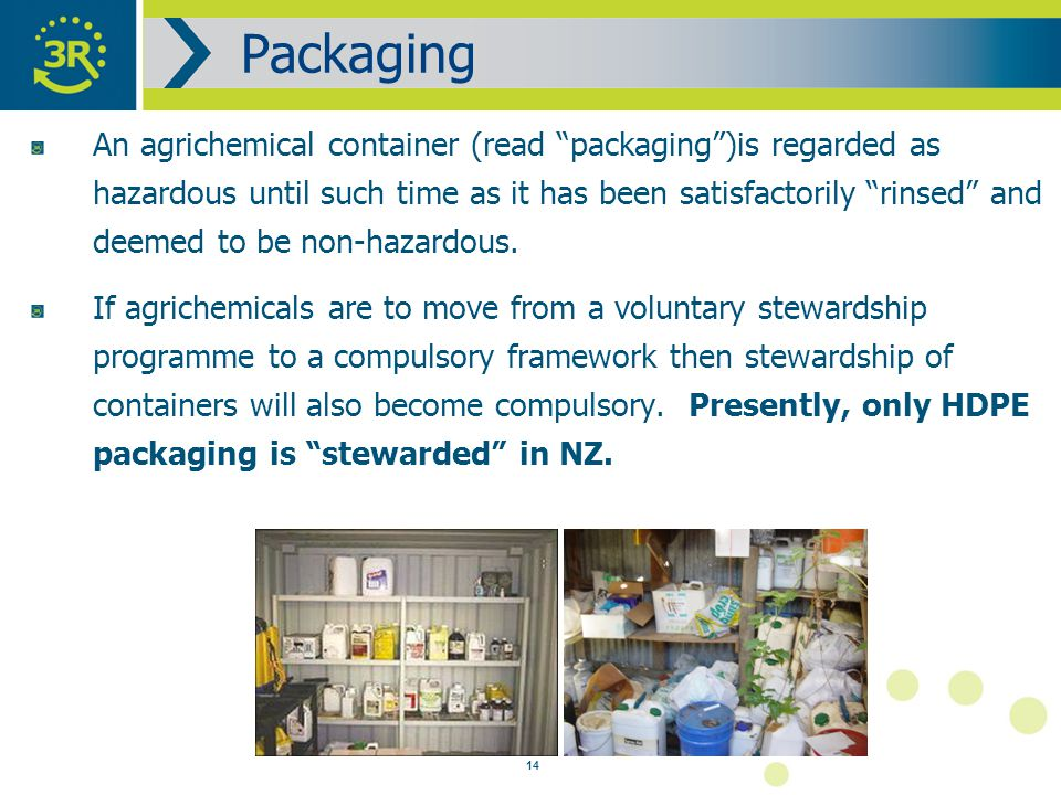 14 An agrichemical container (read packaging )is regarded as hazardous until such time as it has been satisfactorily rinsed and deemed to be non-hazardous.