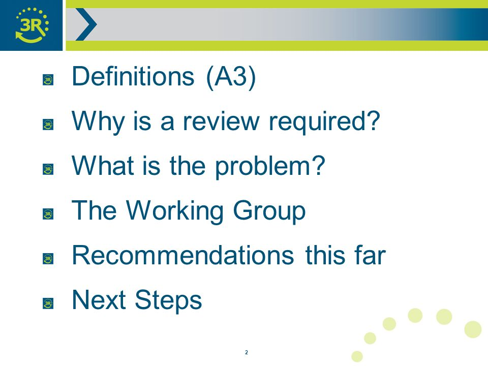 2 Definitions (A3) Why is a review required. What is the problem.