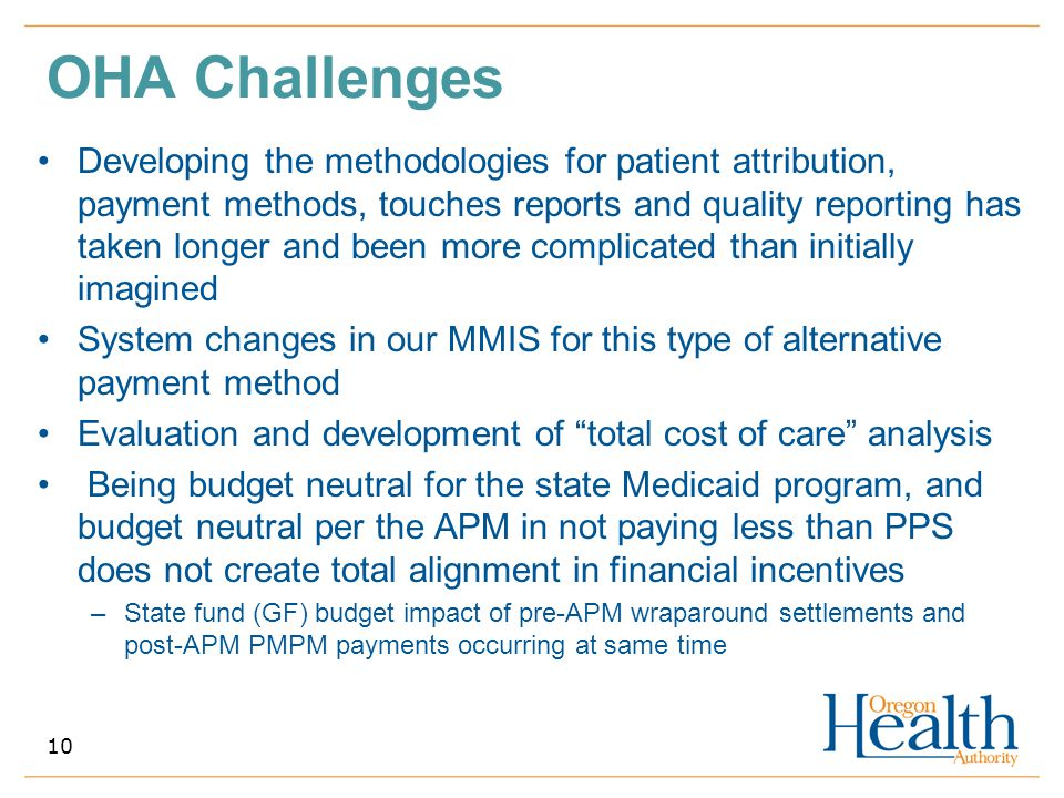 OHA Challenges Developing the methodologies for patient attribution, payment methods, touches reports and quality reporting has taken longer and been