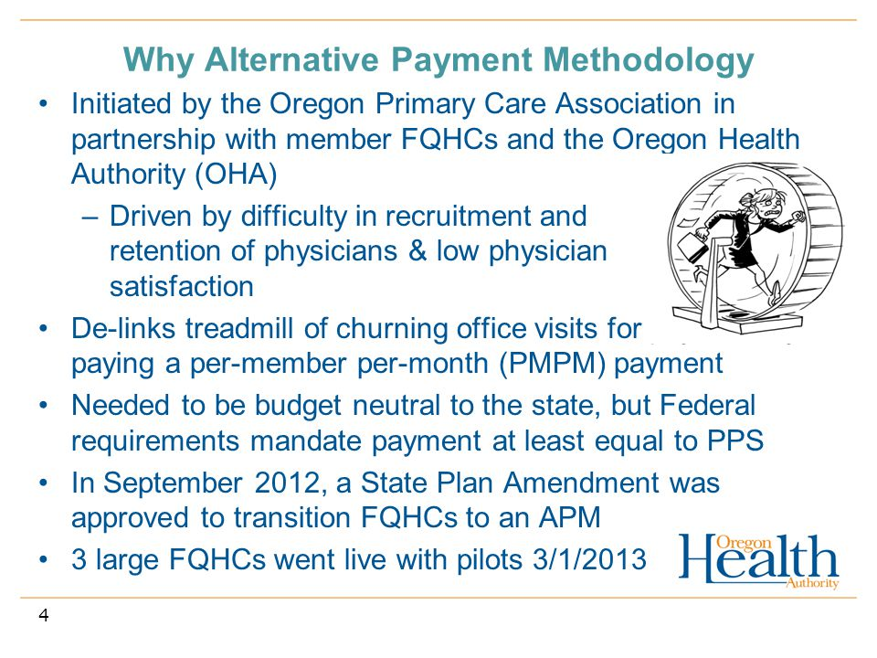 Why Alternative Payment Methodology Initiated by the Oregon Primary Care Association in partnership with member FQHCs and the Oregon Health Authority