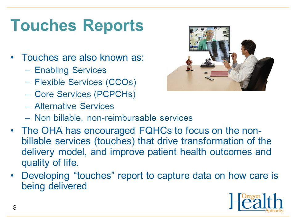 Touches Reports Touches are also known as: as: –Enabling Services –Flexible Services (CCOs) –Core Services (PCPCHs) –Alternative Services –Non billabl