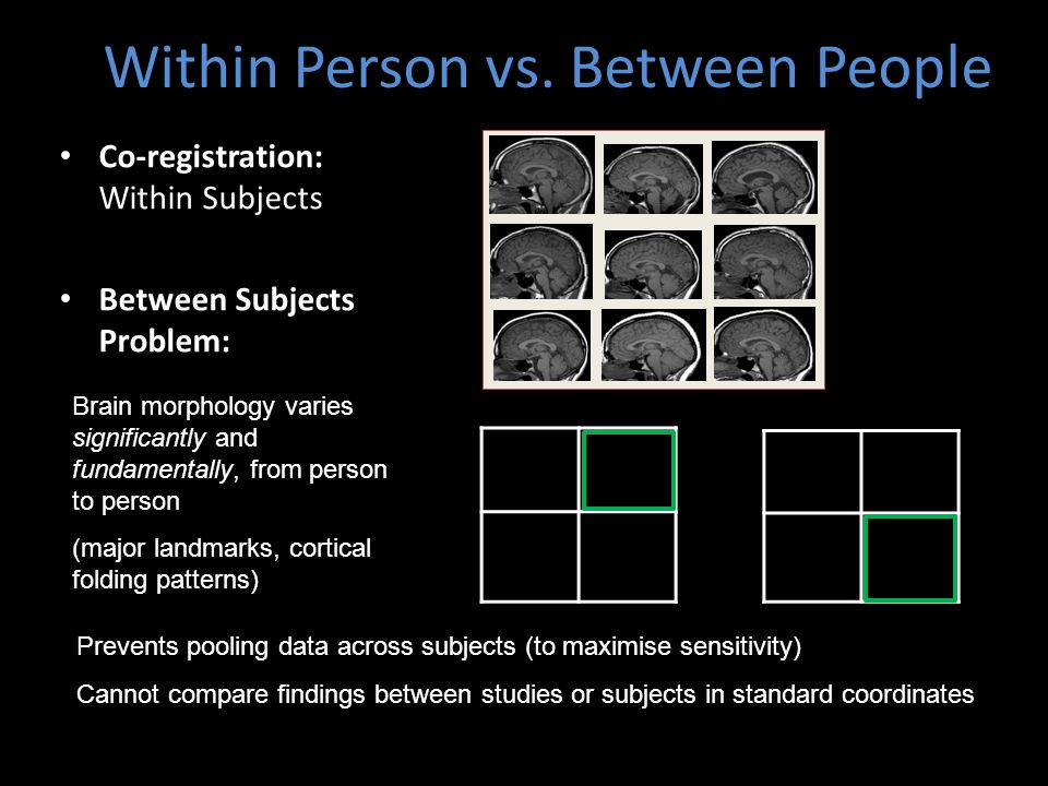 Within Person vs. Between People Co-registration: Within Subjects Between Subjects Problem: Brain morphology varies significantly and fundamentally, f