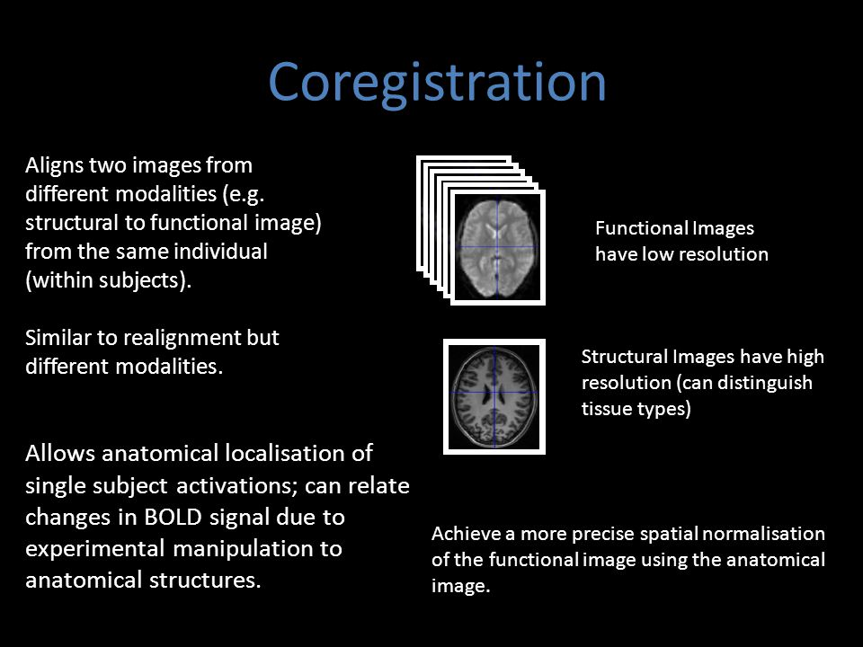 Coregistration Aligns two images from different modalities (e.g. structural to functional image) from the same individual (within subjects). Similar t