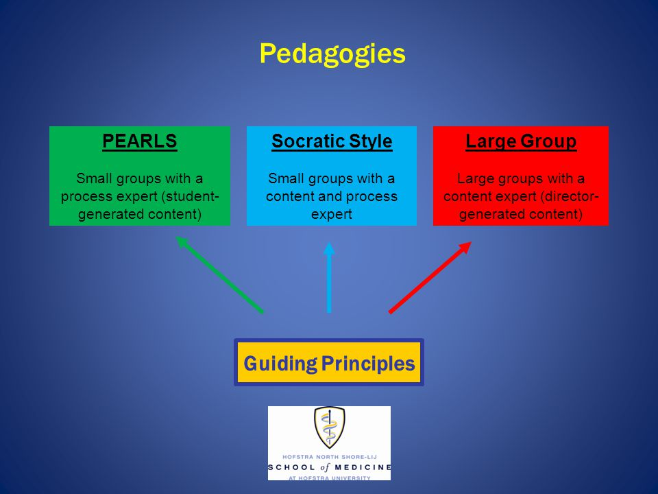 Pedagogies PEARLS Small groups with a process expert (student- generated content) Socratic Style Small groups with a content and process expert Large Group Large groups with a content expert (director- generated content) Guiding Principles