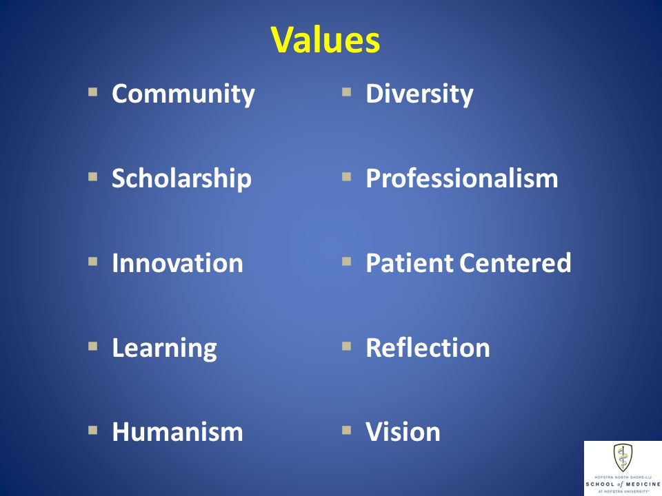 Values  Diversity  Professionalism  Patient Centered  Reflection  Vision  Community  Scholarship  Innovation  Learning  Humanism